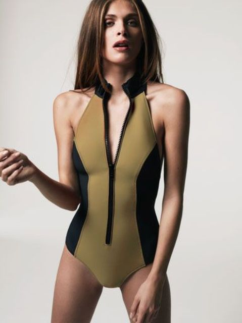 one piece sporty swimsuit with a zipper