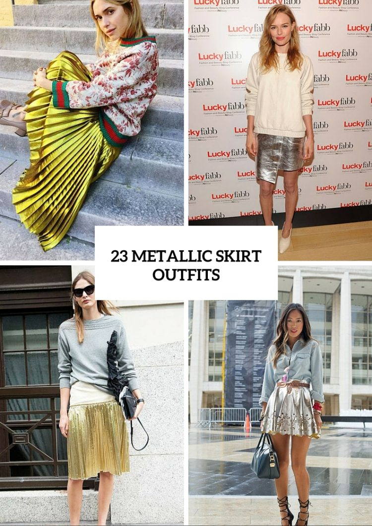 23 Shiny Metallic Skirt Outfits You'll Love