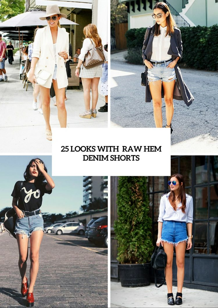 25 trendy raw hem denim short looks to recreate this summer