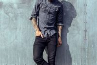 Black Skinny Jeans With A Casual Button-Down Shirt
