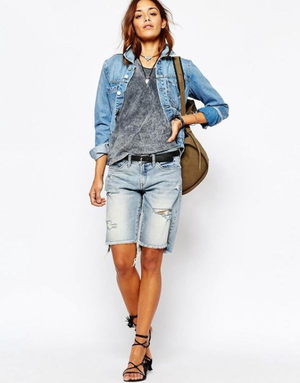Boyfriend Fit Denim Shorts With Raw Hem