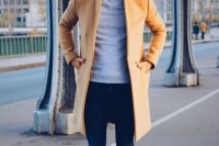 Camel Overcoat With Navy Skinny Jeans And Black Leather Derby Shoes