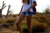 Casual look with baseball cap and denim shorts