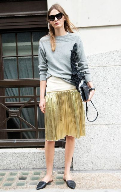 Casual look with grey shirt, golden skirt and trendy flats