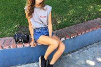 Chiara Ferragni Rocks Raw Hem Denim Shorts With A Grey Tee