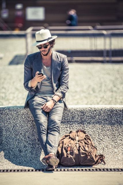 Chic men look with hat