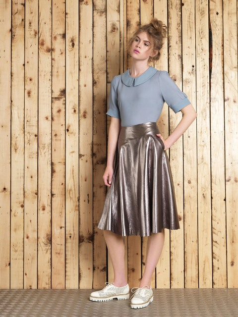 Classic grey blouse with metallic skirt