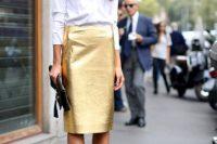 Classic white shirt with pencil metallic skirt