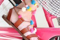 Colorful DIY Lace Up Pom Pom Sandals 2