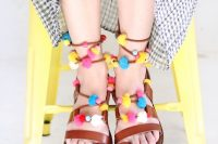 Colorful DIY Lace Up Pom Pom Sandals 3