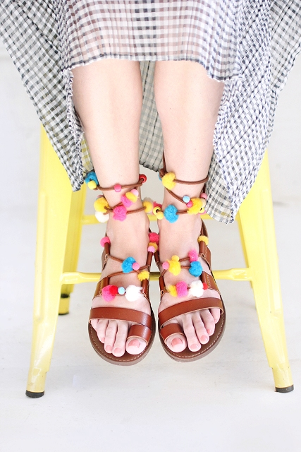 Colorful DIY Lace Up Pom Pom Sandals