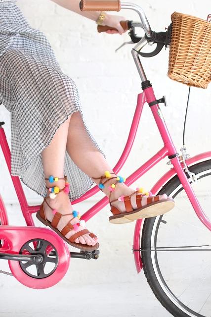 Colorful DIY Lace Up Pom Pom Sandals