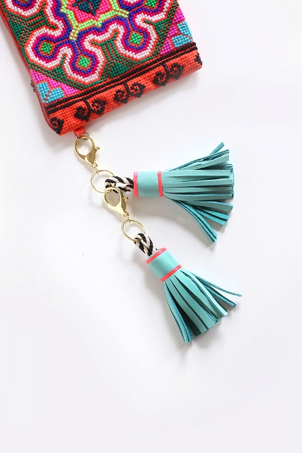 Cute DIY Leather Tassel Keychain