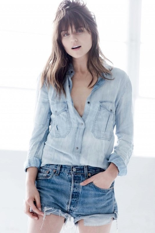 Denim On Denim Look With Frayed Shorts