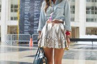 Denim shirt and mini metallic skirt outfit