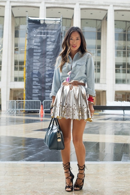 Denim shirt and mini metallic skirt outfit