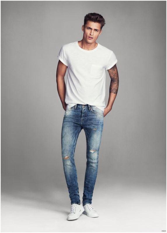 Mens Black Cuffed Jeans