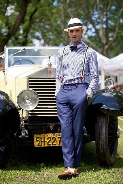 Elegant men look with hat