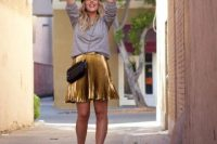 Everyday outfit with pleated metallic skirt and grey sweatshirt