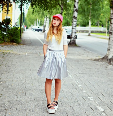 Eye catching baseball cap with glam skirt