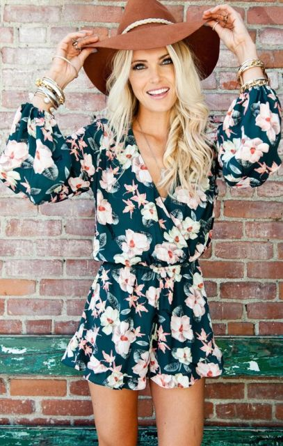 Flower printed romper with wide brim hat