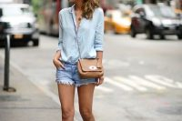 Frayed Denim Shorts With A Button-Down Shirt And Laced Up Sandals
