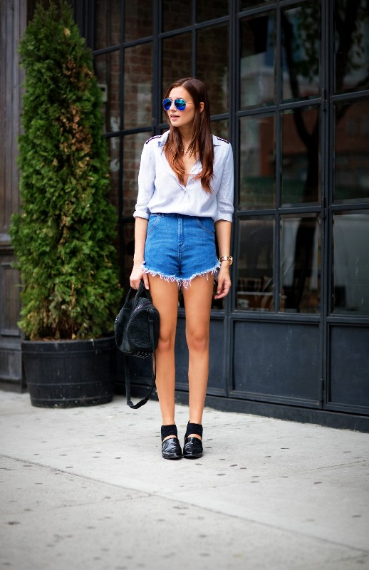 Frayed Jean Shorts And A Button-Down Shirt