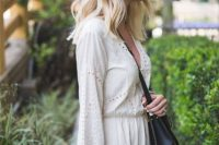 Gentle look with romper and crossbody bag