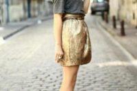 Girlish outfit with metallic skirt and simple grey skirt