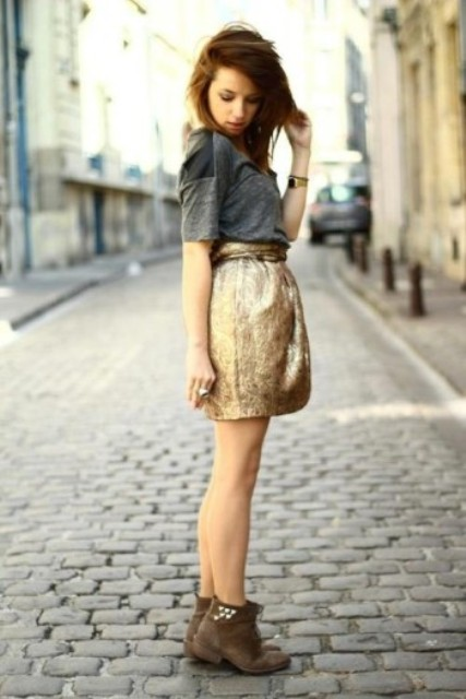 Girlish outfit with metallic skirt and simple grey skirt