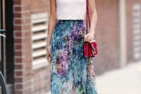 Glossy Structured Berry Colored Cross-Body Bag