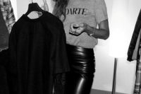 Gorgeous Rihanna in leather pencil skirt and baseball cap