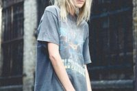 Grunge look with mini skirt and loose t-shirt