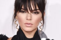 Kendall Jenner's Top Bun And A Fringe