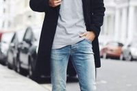 Light Blue Skinny Jeans With A Grey Shirt And A Coat