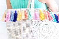 Lovely DIY Pastel Tassel Beach Bag