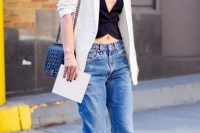 Low-slung jeans with striped jasket and black top
