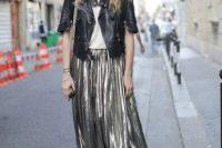 Maxi metallic skirt and leather jacket combination