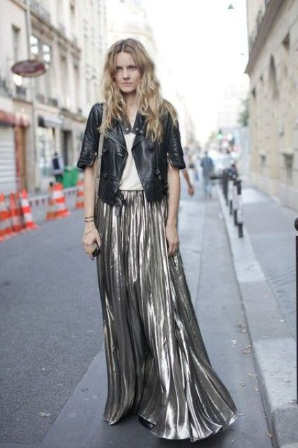 Maxi metallic skirt and leather jacket combination