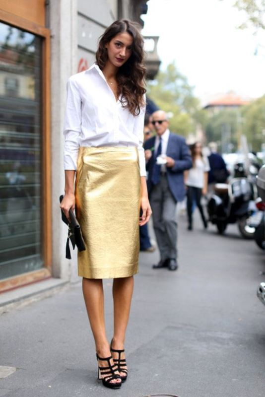 Metallic Pencil Skirt With A Classic Button-Down