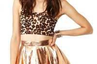 Metallic faux leather skirt and leopard top outfit