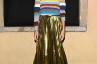 Metallic skirt with colorful striped sweater look