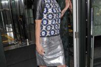 Metallic skirt with printed shirt