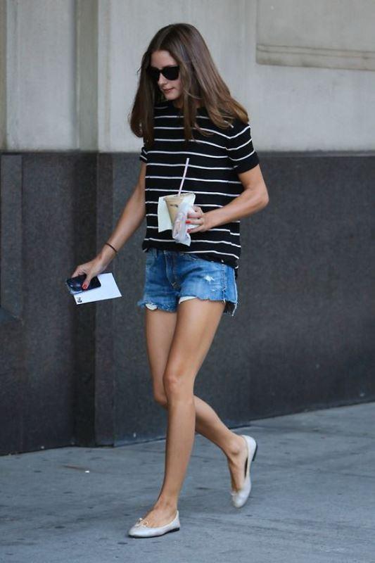Olivia Palermo Rocks Raw Hem Jean Shorts With A Striped Tee And Flats