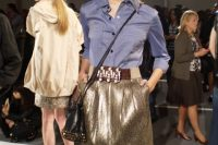 Outfit with blue shirt and mini metallic skirt