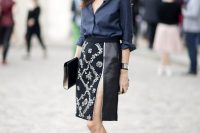 Pencil Skirt With A Blouse