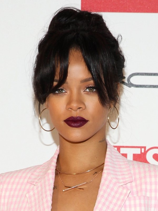 Rihanna's Updo With A Parted Fringe