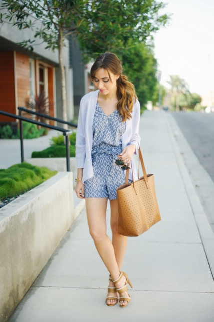 Romper with big bag and heels