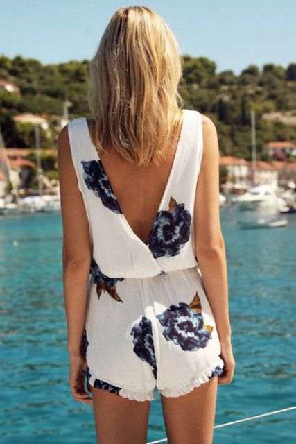 Romper with big flower print