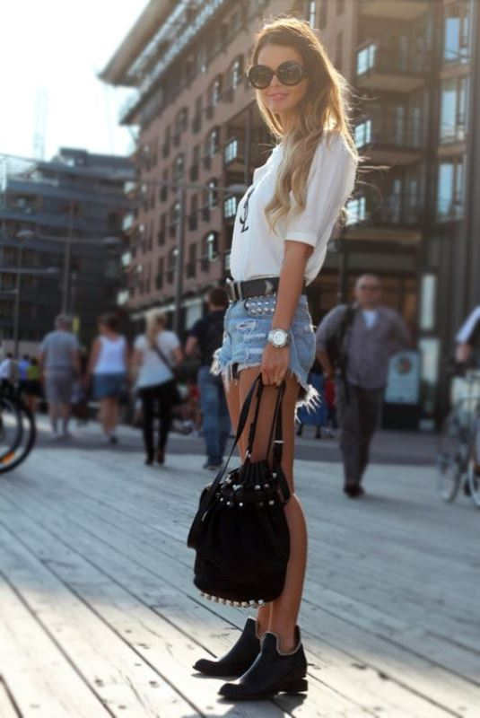 Simple White Blouse With Ripped Denim Shorts